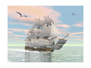 Old Merchant Ship Sailing in the Ocean with Seagulls Above